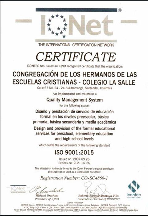 certificación IQNet-2018