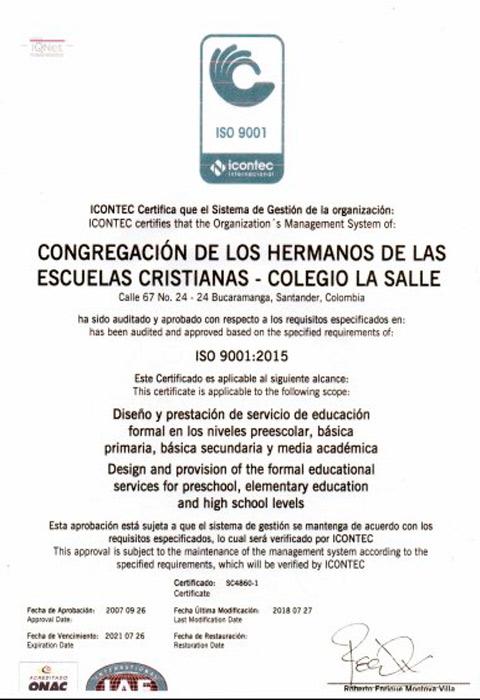 Certificación ISO9001 2015-2018