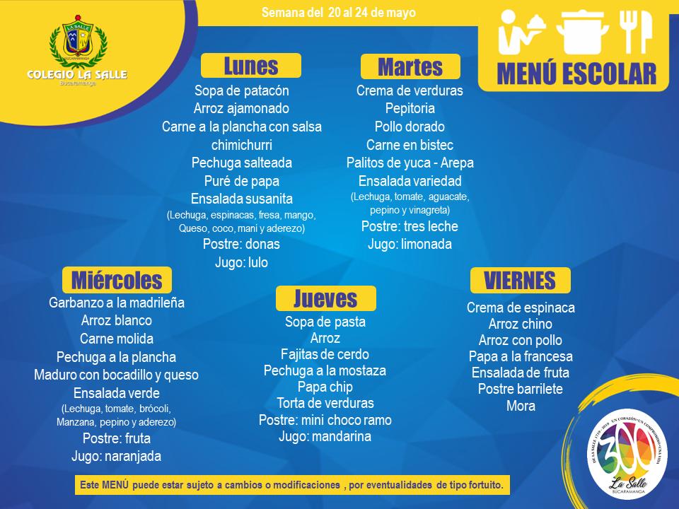 Menú Escolar –  20 al 24 de mayo 2019